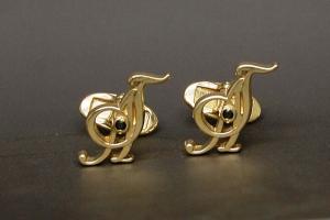 Запонки жёлтое золото бриллианты